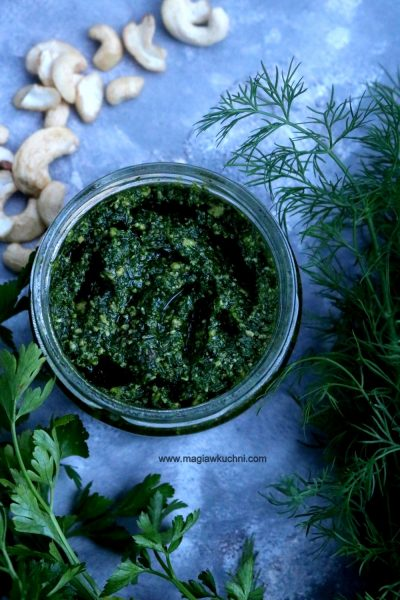 Mocno zielone pesto z koperkiem